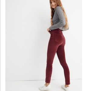 """NWT Madewell 10"""" High Rise Skinny Jeans in Velvet"""